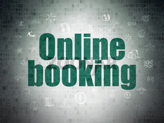 Tourism concept: Online Booking on Digital Data Paper background
