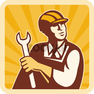 Construction worker engineer mechanic holding spanner