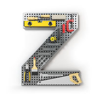Letter Z. Alphabet from the tools on the metal pegboard isolated on white.