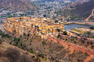 View of Amber Fort from Jaigarh Fort in Rajasthan, India