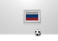 fußball und russische flagge in bilderrahmen - 3d illustration