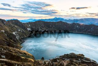 Ilinizas Volcanoes under the Quilotoa lagoon, Andes. Ecuador