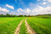 beautiful field and road