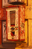 Old Chewing Gum Machinel with Graffiti  at Dusk in Ostertor-Quarter, Bremen, Germany, europe