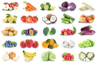Obst und Gemüse Früchte Sammlung Äpfel, Orangen Paprika Bananen Essen Freisteller