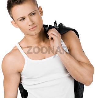 attractive modern man in white shirt