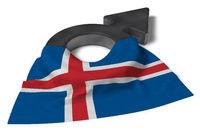 symbol für männlich und flagge von island - 3d illustration