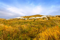 Autumn landscape with limestone mountains in Russia