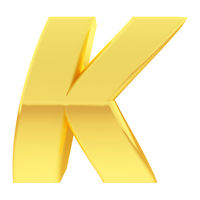 Gold alphabet symbol letter K with gradient reflections isolated on white. High resolution 3D image