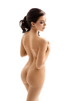 Beautiful brunette naked cropped rearview portrait