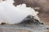 Iceland, steaming fumarole at Hverarönd
