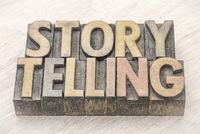 storytelling word abstract in wood type