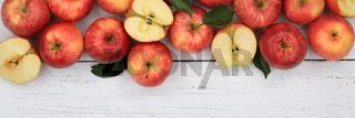 Äpfel Apfel rot Obst Frucht Früchte Banner Textfreiraum von oben