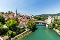View of the river Limmat and Baden in Switzerland