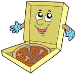 Cartoon pizza box - isolated illustration.