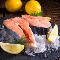 fresh raw salmon on ice