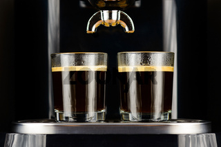 Two espressos in glass cups