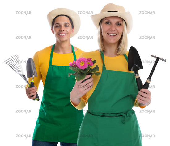 Gärtner Team Gärtnerin Garten Gartenarbeit Frau Beruf mit Blume Freisteller
