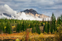 The autumn mountains and clouds