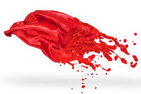 Red textile melted to liquid paint