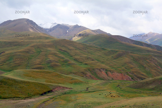 Landscape at Karakeche Pass (3364 m) at Lake Song Kul, Central Kyrgyzstan