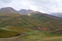 Landscape at Karakeche Pass (3364 m) at Lake Song Kul, Central Kyrgyzstan