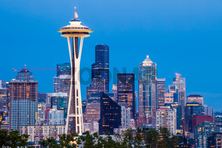 Seattle skyline with the Space Needle at dusk