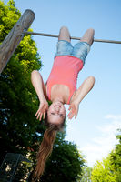 teen hanging upside down