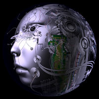 Digital 3D Illustration of a Cyborg Head