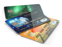 Three colored credit cards isolated on white background,