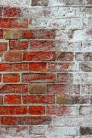 Background texture of brick wall covered with salt