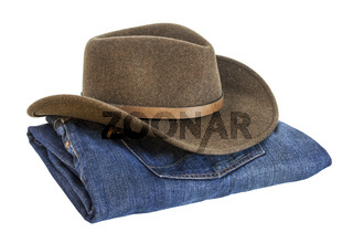 cowboy hat and blue jeans