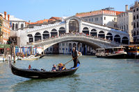 Gondola and Rialto Bridge, Venice