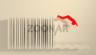 man silhouette diving from bar code springboard