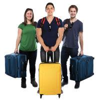 Reise reisen Gruppe junge Leute Menschen Urlaub Koffer Freisteller isoliert freigestellt