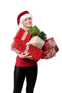 Sweet Beautiful Blond Girl With Santa Hat And Lots Of Presents