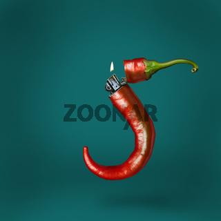 Burning red hot chili peper