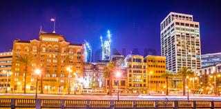 san francisco downtown city skyline at night