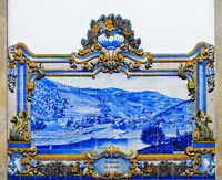 Historic ceramic tiles, azulejos, depicting the panorama of Pinhao with river and vineyards, Pinhao