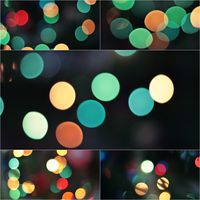Collage Sparkling Lights Festive background. Abstract Christmas twinkled bright background with bokeh defocused lights. Winter background. Card or invitation cover