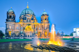 Night at Berlin Cathedral with fountain in Berlin city, Germany