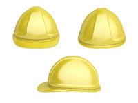 Yellow plastic safety helmet