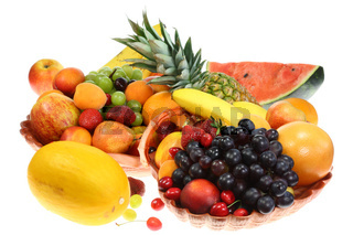 Fruits on white.