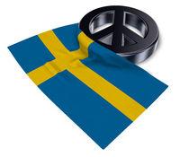 friedenssymbol und flagge von schweden - 3d rendering