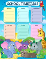 Weekly school timetable thematics 4 - picture illustration.