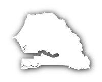 Karte von Senegal mit Schatten - Map of Senegal with shadow