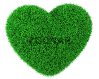 Heart made of green grass isolated