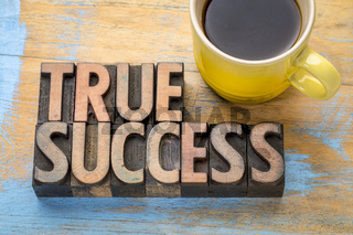 true success - word abstract in wood type