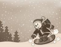 Stylized image with snowman on snowboard