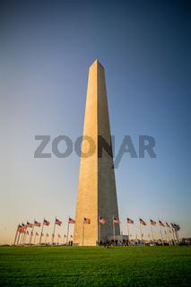 washington dc memorial tower monument at sunset